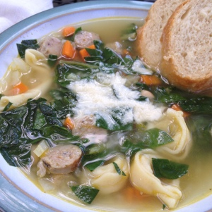 Get Your Groove Back Soup a.k.a. Tortellini and Sausage Soup with Beans and Greens
