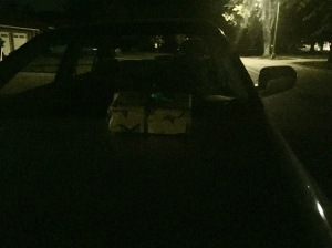 Correction: When my husband came across the blog, he said he put the box on our neighbor's car.  Awesome.